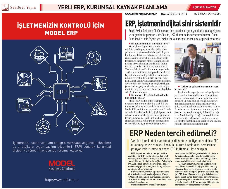 Model, 02.02.2018 tarihli Sabah gazetesi Yerli Erp Dosyasında  yer aldı.