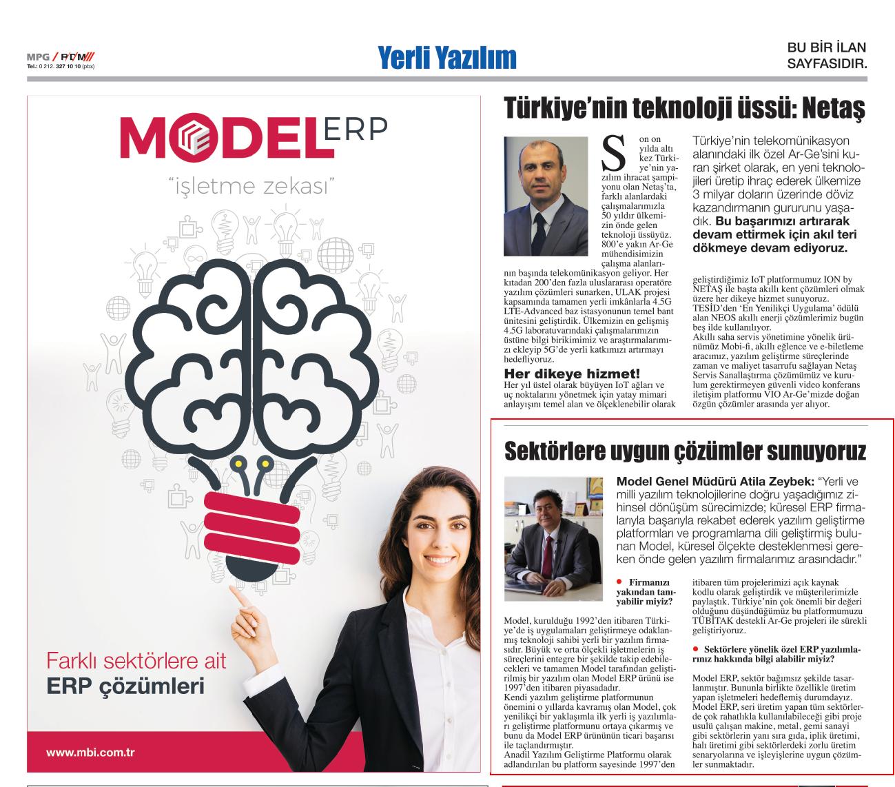 Model, 21.02.2018 tarihli Hürriyet gazetesi Yerli Yazılım Dosyasında  yer aldı.